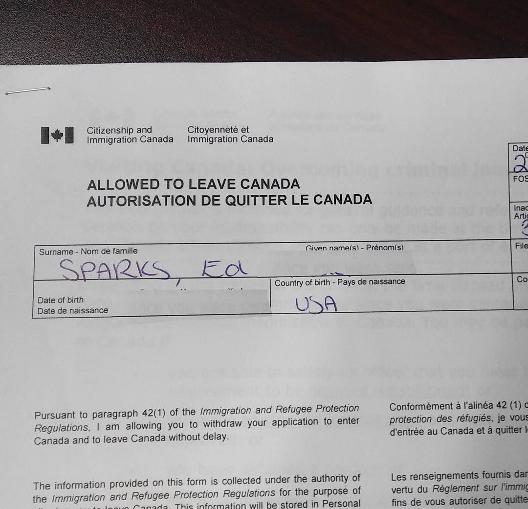 Signed Immigration Refusal Canada Border